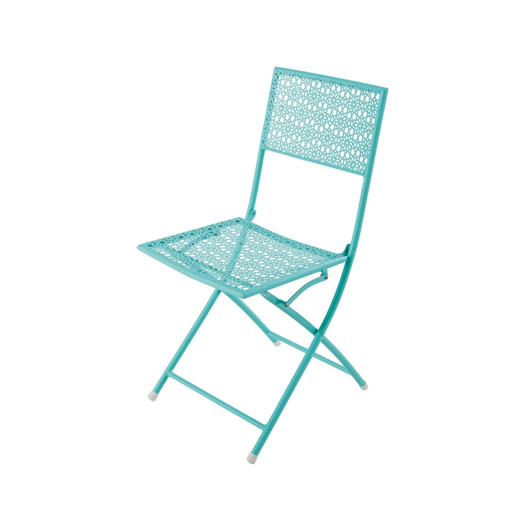 Silla de jard n plegable azul turquesa de metal suzon for Maison du monde jardin