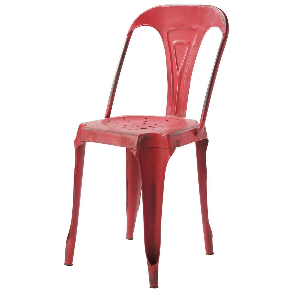 Silla industrial de metal roja multipl 39 s maisons du monde for Sillas comedor maison du monde
