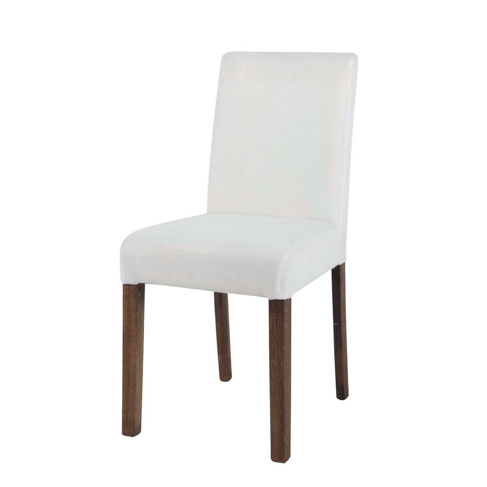 Silla para funda de tela y madera blanca tempo maisons for Silla madera blanca