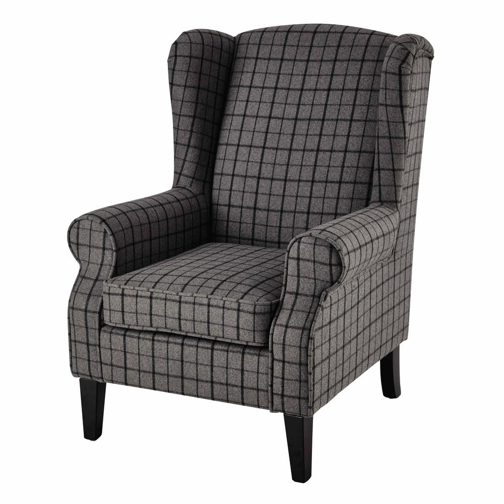 Sill n de lana de cuadros gris scotland maisons du monde for Sillon gris