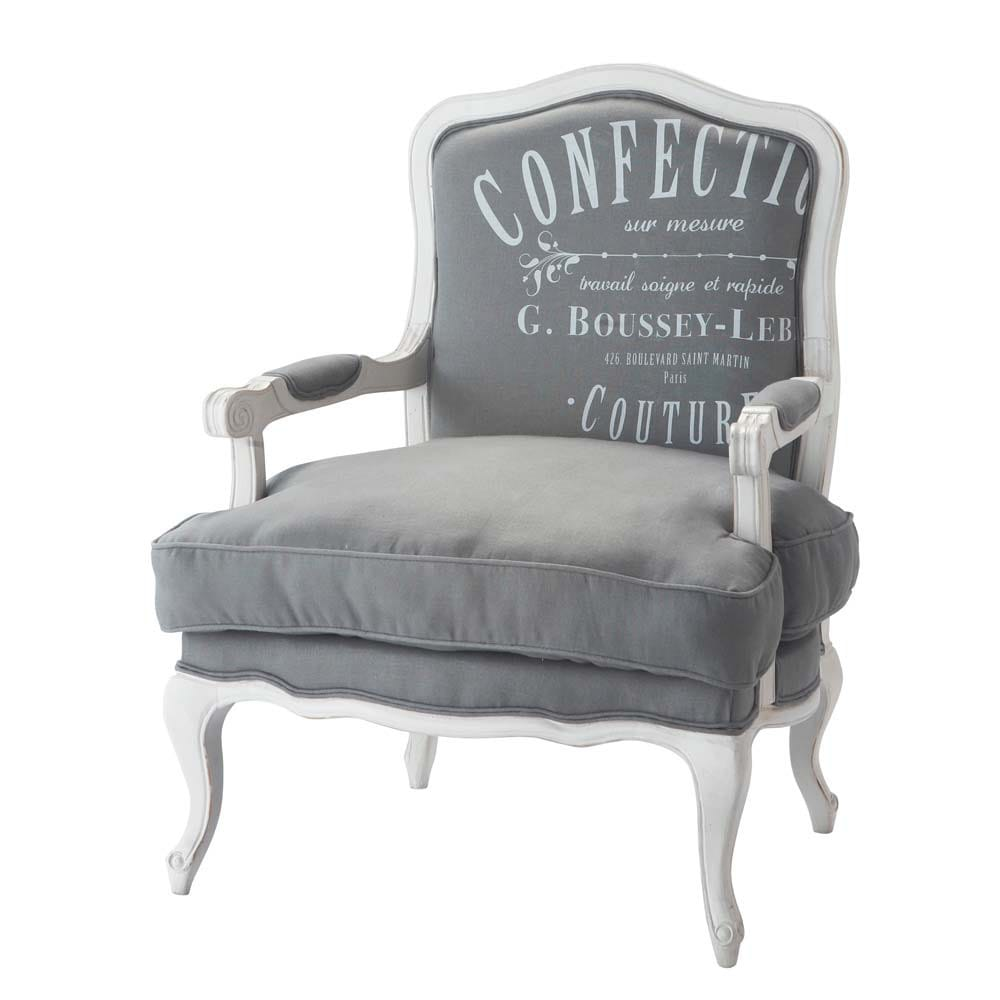 Sill n de lino gris claro confection maisons du monde for Sillon gris