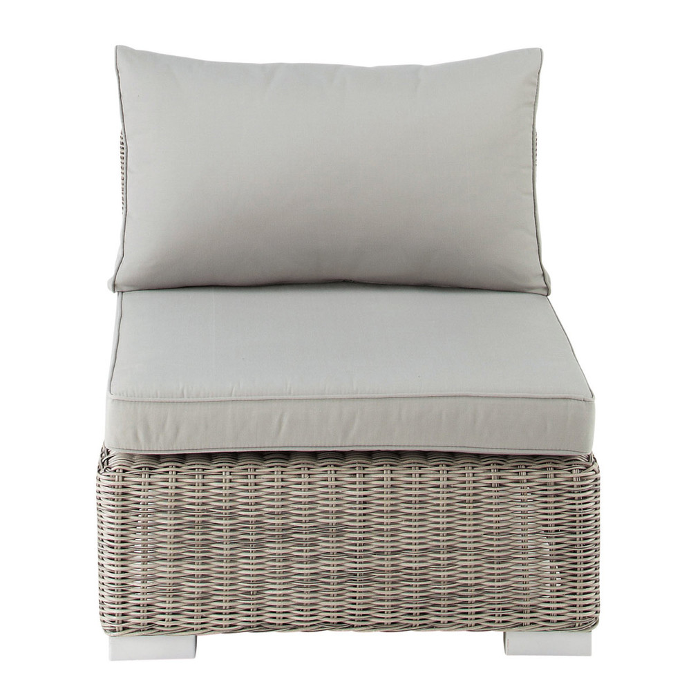 sitzelement f r den garten aus kunstharzgeflecht in grau. Black Bedroom Furniture Sets. Home Design Ideas