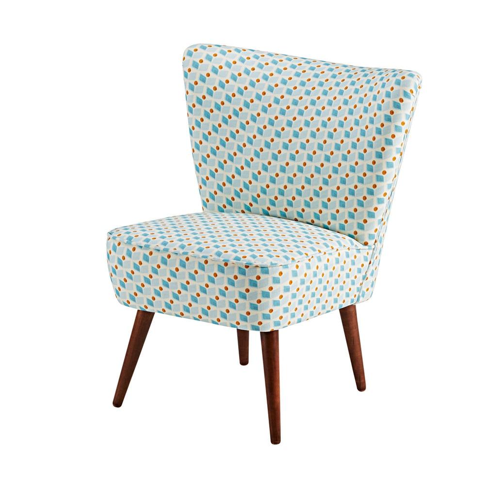 skandinavischer sessel mit baumwollbezug mit blauen und gelben motiven scandinave maisons du monde. Black Bedroom Furniture Sets. Home Design Ideas