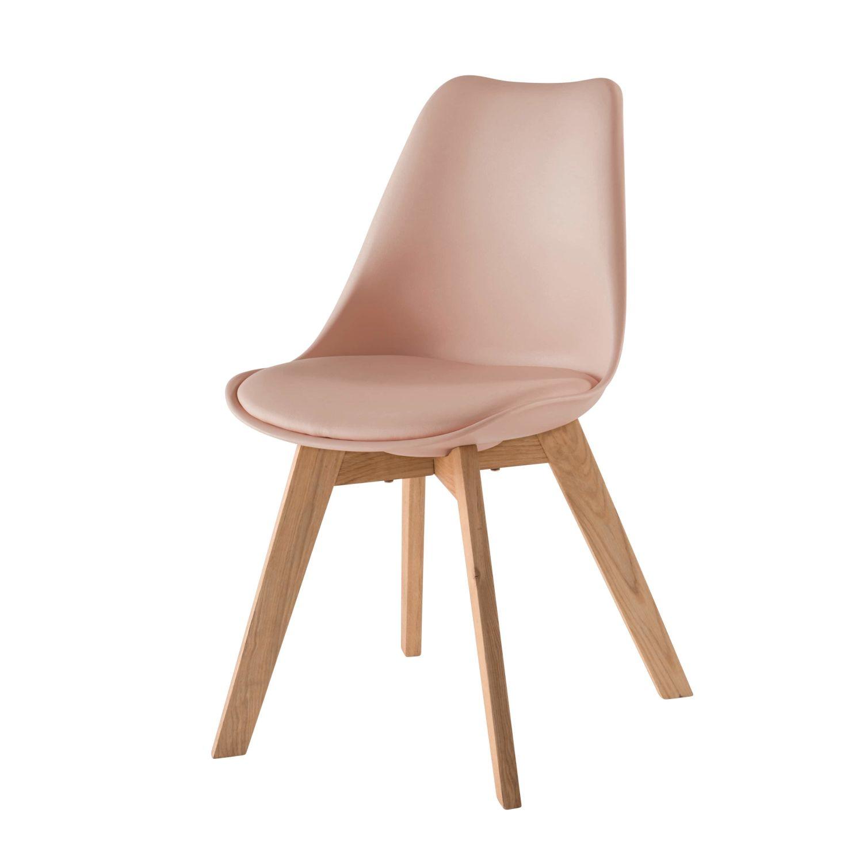 Skandinavischer Stuhl skandinavischer stuhl mit massiver eiche, puderrosa ice | maisons du