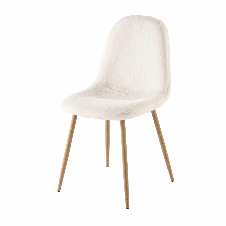 Skandinavischer Stuhl skandinavischer stuhl, weißer kunstfellbezug clyde | maisons du monde