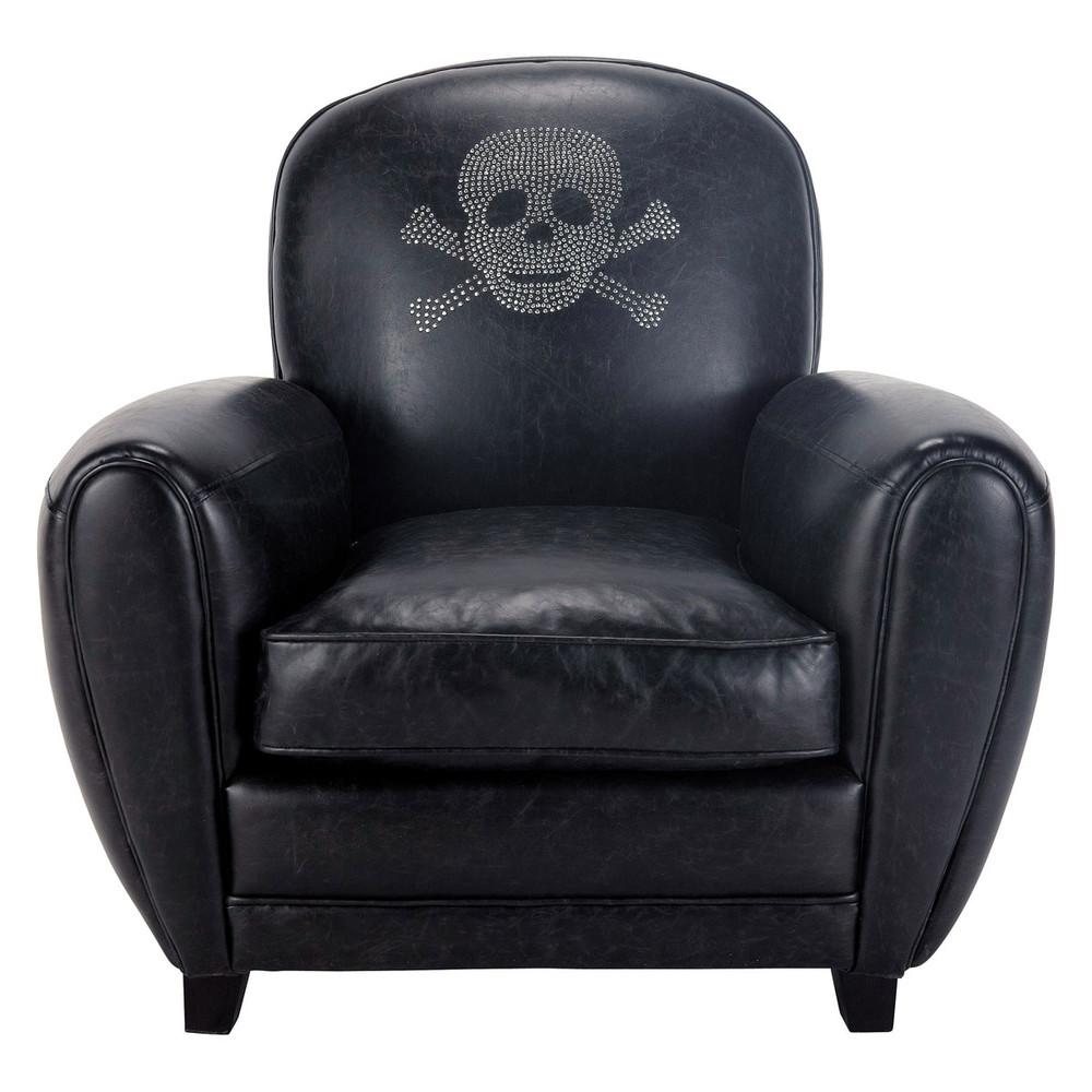 skull crossbones armchair in black sparrow maisons du monde. Black Bedroom Furniture Sets. Home Design Ideas