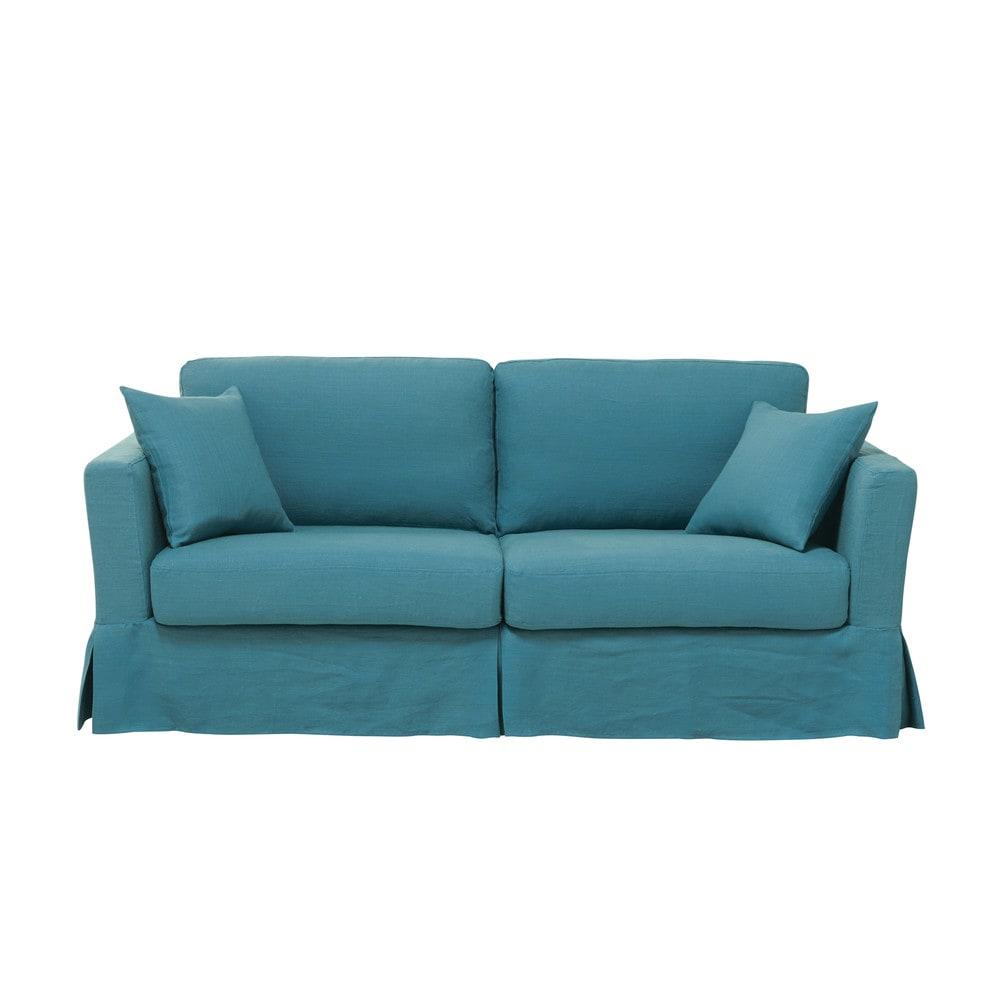 slaapbank 3 zits gewassen linnen blauw royan maisons du monde. Black Bedroom Furniture Sets. Home Design Ideas