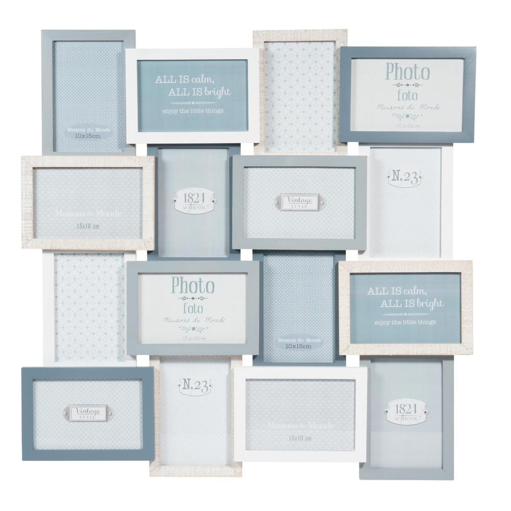 Snow 59x59cm blue wooden frame for 16 pictures maisons - Maison du monde cadre photo ...