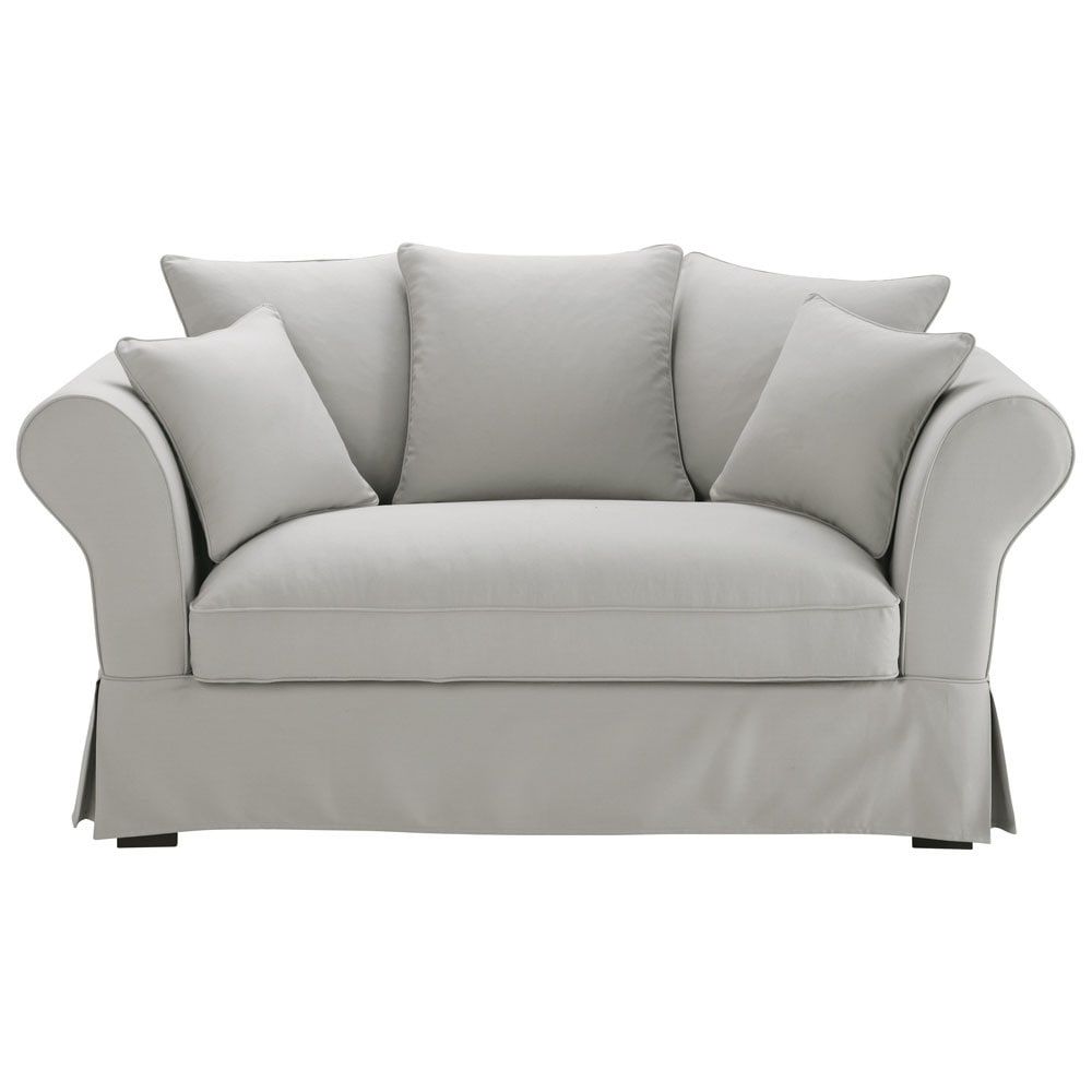 Sofa 2 Und 3 Sitzer : sofa 2 3 sitzer aus baumwolle hellgrau roma maisons du monde ~ Bigdaddyawards.com Haus und Dekorationen