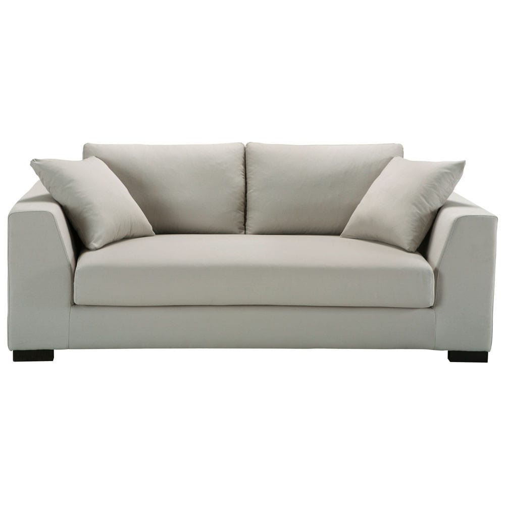 sofa 2 3 sitzer aus baumwolle hellgrau terence maisons du monde. Black Bedroom Furniture Sets. Home Design Ideas