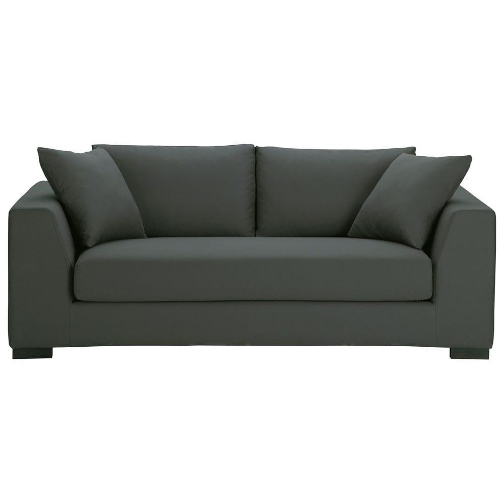 sofa 2 3 sitzer aus baumwolle schiefergrau terence maisons du monde. Black Bedroom Furniture Sets. Home Design Ideas