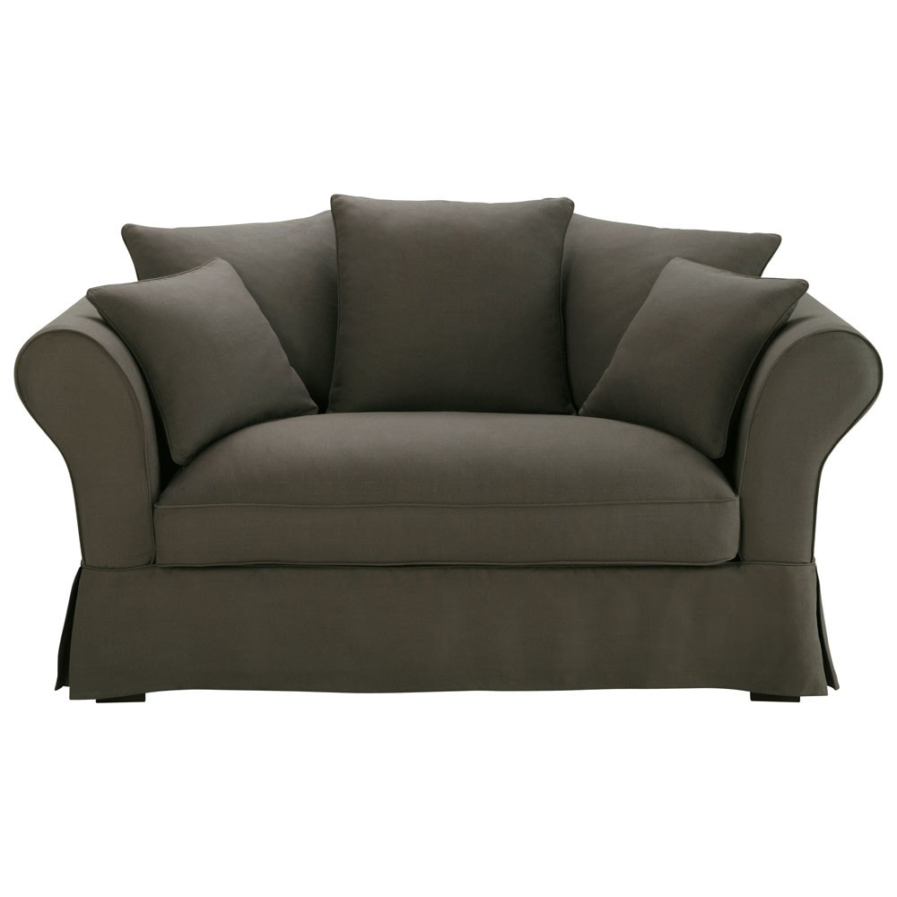 sofa 2 3 sitzer aus leinen taupe angegraut roma maisons du monde. Black Bedroom Furniture Sets. Home Design Ideas