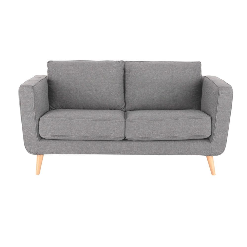 Sofa 2 3 sitzer aus stoff hellgrau nils maisons du monde for Sofa hellgrau