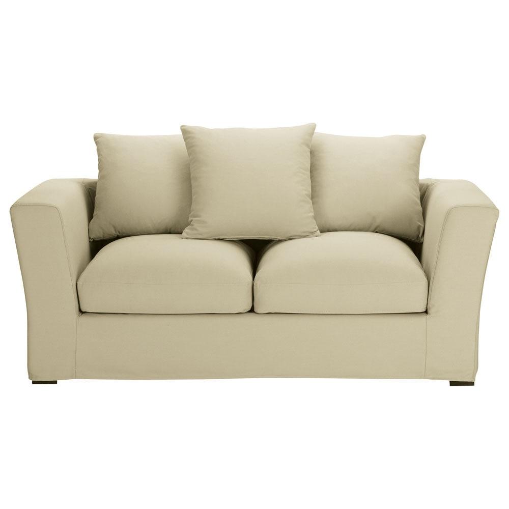 sofa 2 3 sitzer nicht ausziehbar baumwolle kittfarben
