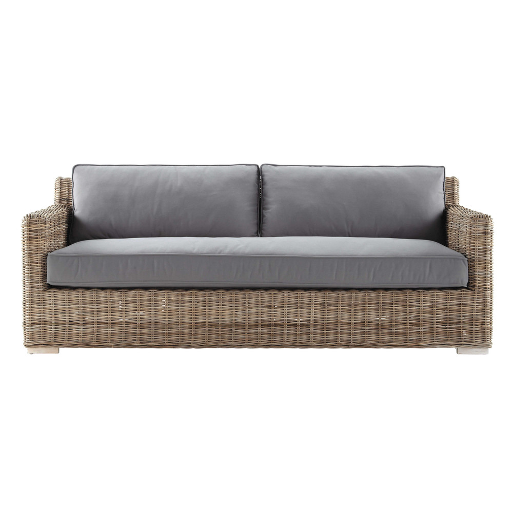 sofa 2 sitzer aus kubu rattan anthrazit kerguelen maisons du monde. Black Bedroom Furniture Sets. Home Design Ideas