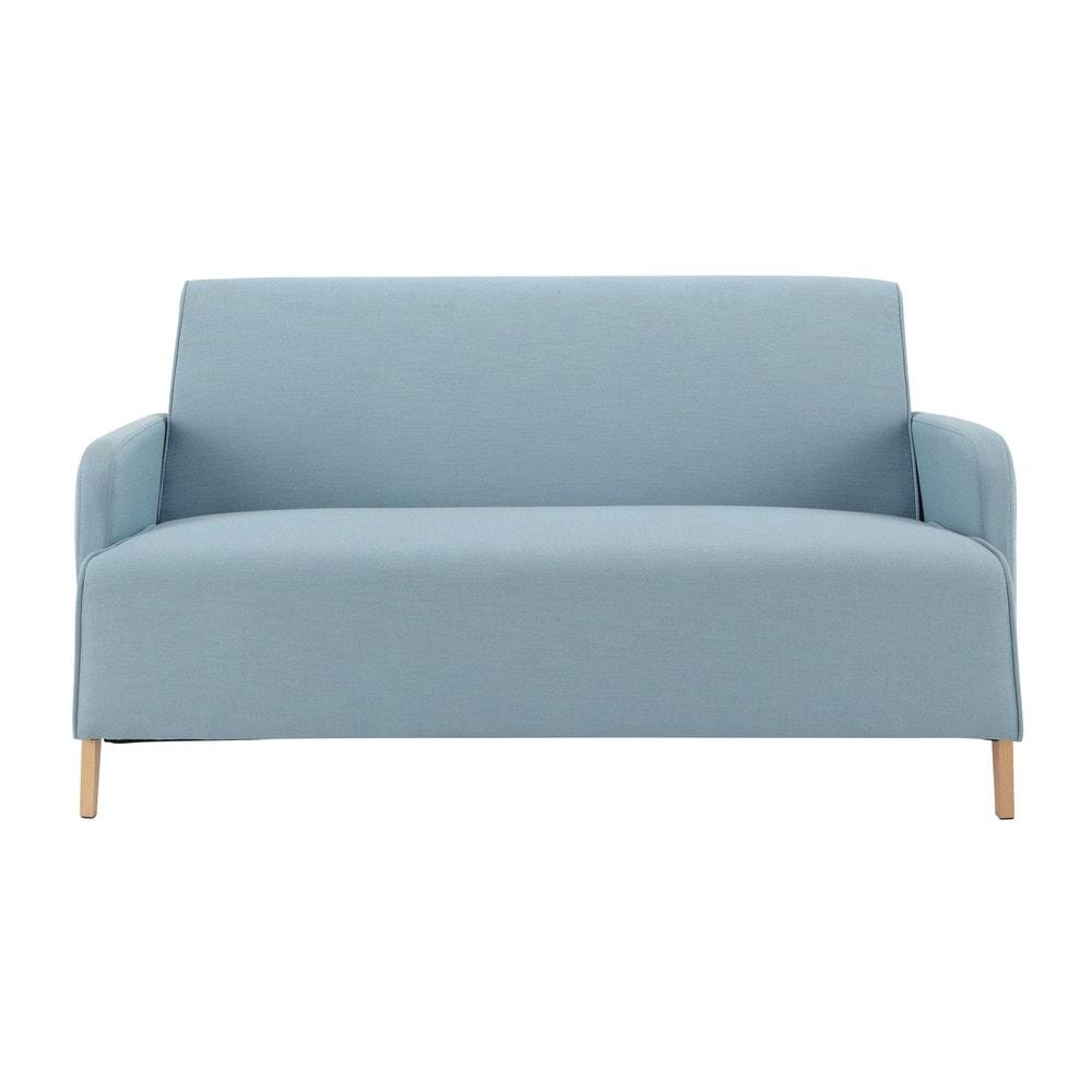 Sofa 2 Sitzer Aus Stoff, Blau