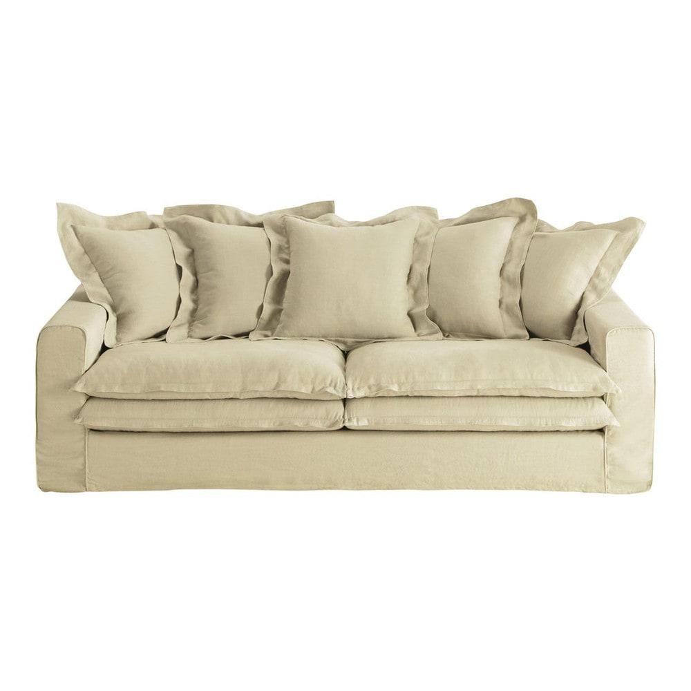 sofa 3 4 sitzer aus leinen beige lisbonne lisbonne maisons du monde. Black Bedroom Furniture Sets. Home Design Ideas
