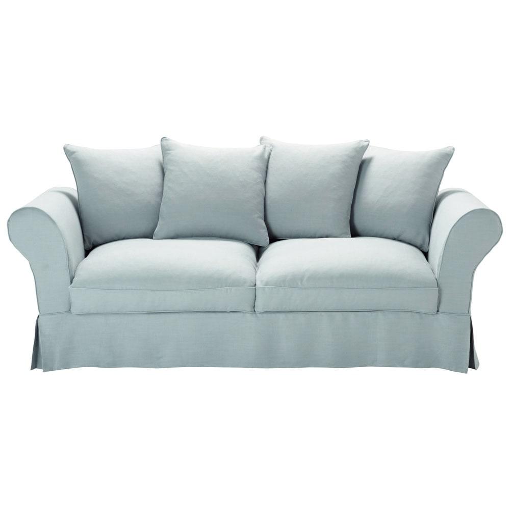 sofa 3 4 sitzer nicht ausziehbar leinen blau mit graueffekt roma maisons du monde. Black Bedroom Furniture Sets. Home Design Ideas