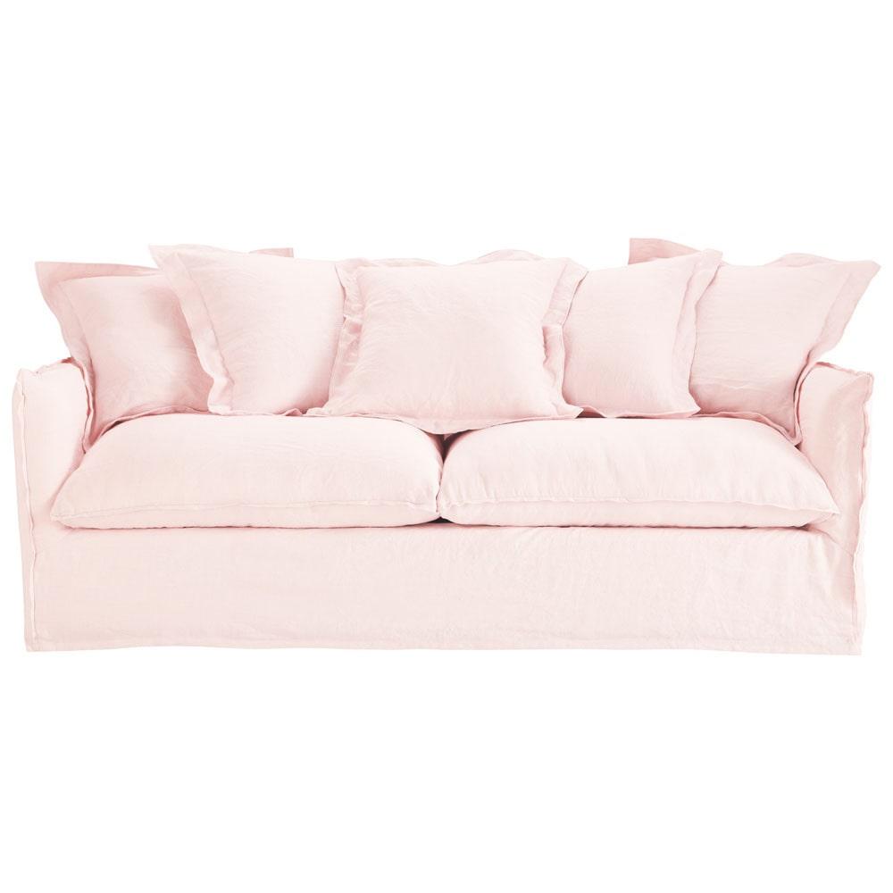 sofa 3 4 sitzer nicht ausziehbar leinen gewaschen blassrosa barcelone barcelone maisons du. Black Bedroom Furniture Sets. Home Design Ideas