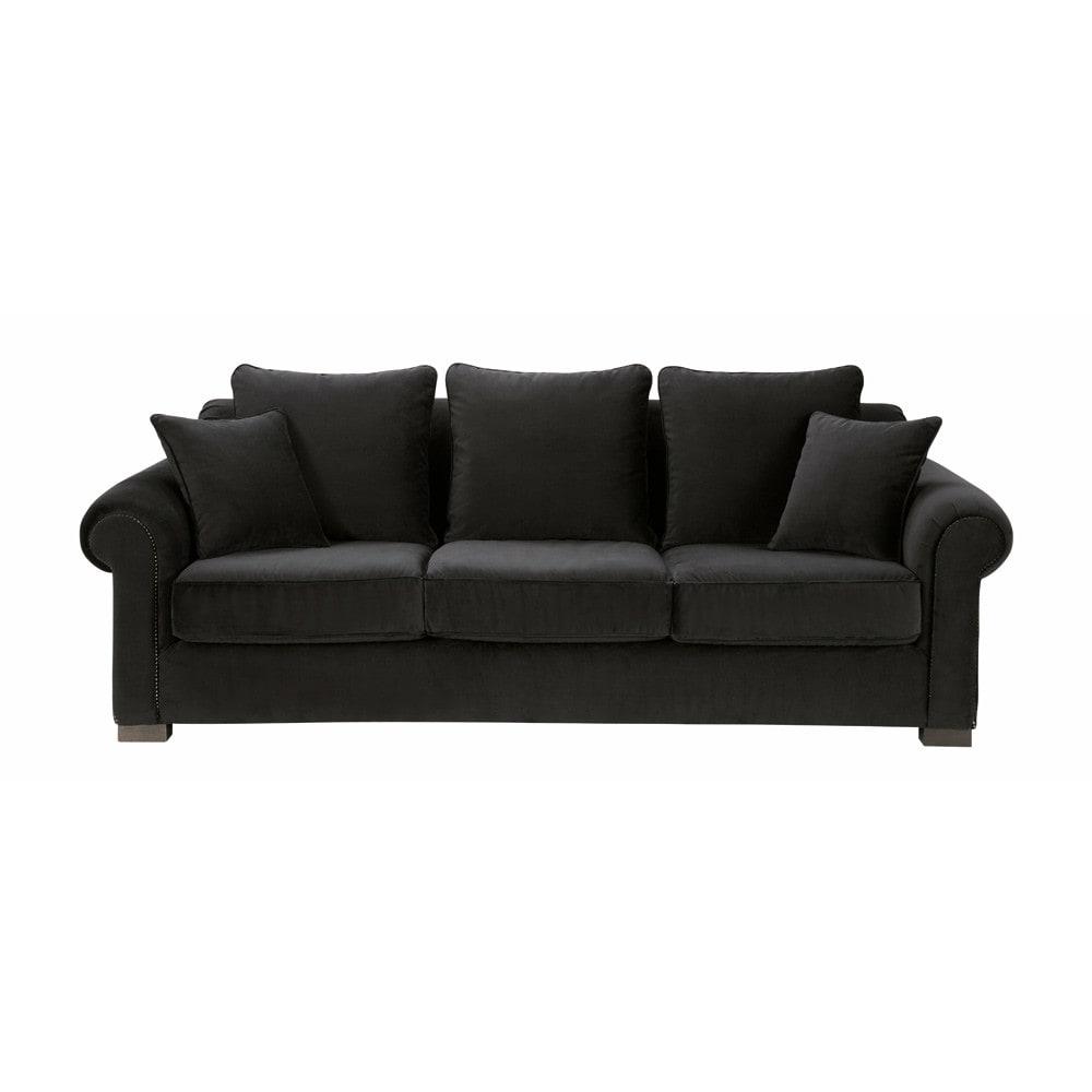 sofa 3 4 sitzer nicht ausziehbar velours schwarz claridge claridge maisons du monde. Black Bedroom Furniture Sets. Home Design Ideas