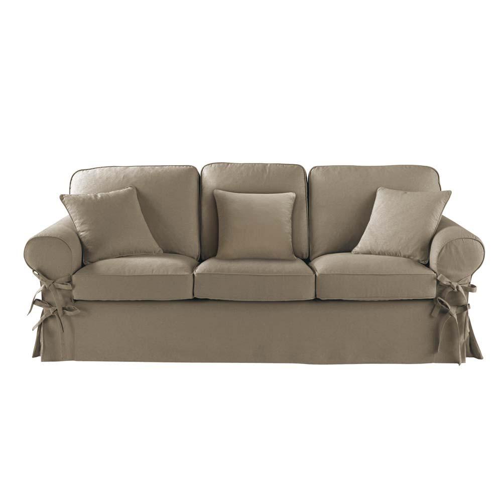 Sofa 3 sitzer aus baumwolle taupe butterfly maisons du for Maison du monde sofas