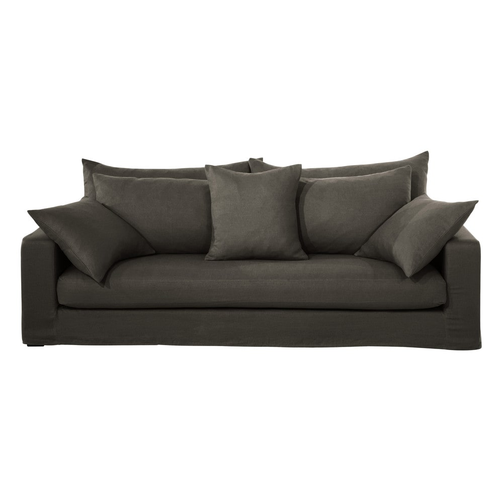 sofa 3 sitzer aus grobem leinen eisbraun gaspard maisons du monde. Black Bedroom Furniture Sets. Home Design Ideas