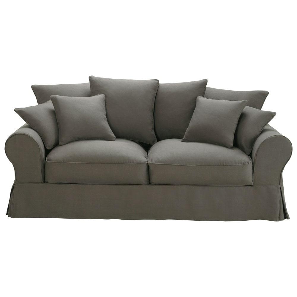 sofa 3 sitzer aus leinen taupe bastide maisons du monde. Black Bedroom Furniture Sets. Home Design Ideas