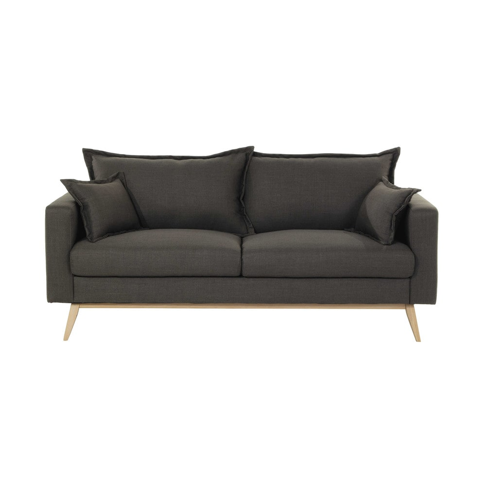 sofa 3 sitzer aus stoff graubraun duke maisons du monde. Black Bedroom Furniture Sets. Home Design Ideas