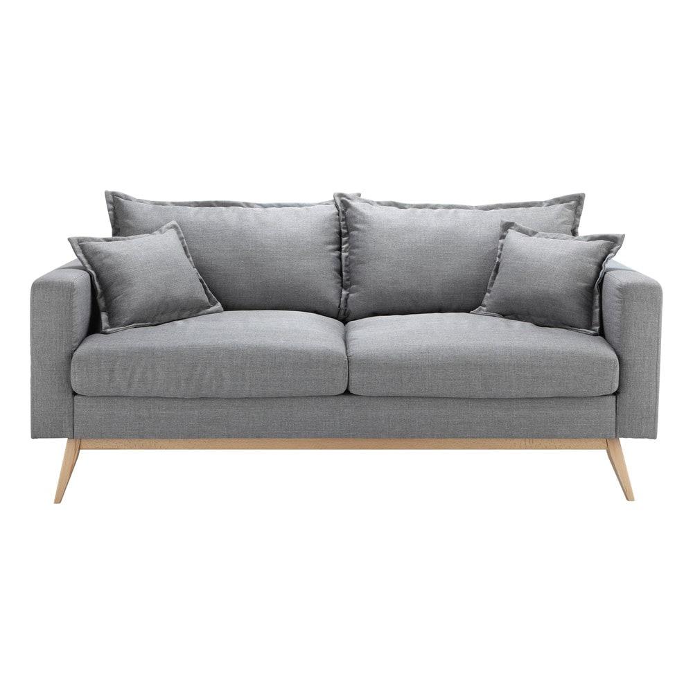 sofa 3 sitzer aus stoff hellgrau duke maisons du monde. Black Bedroom Furniture Sets. Home Design Ideas