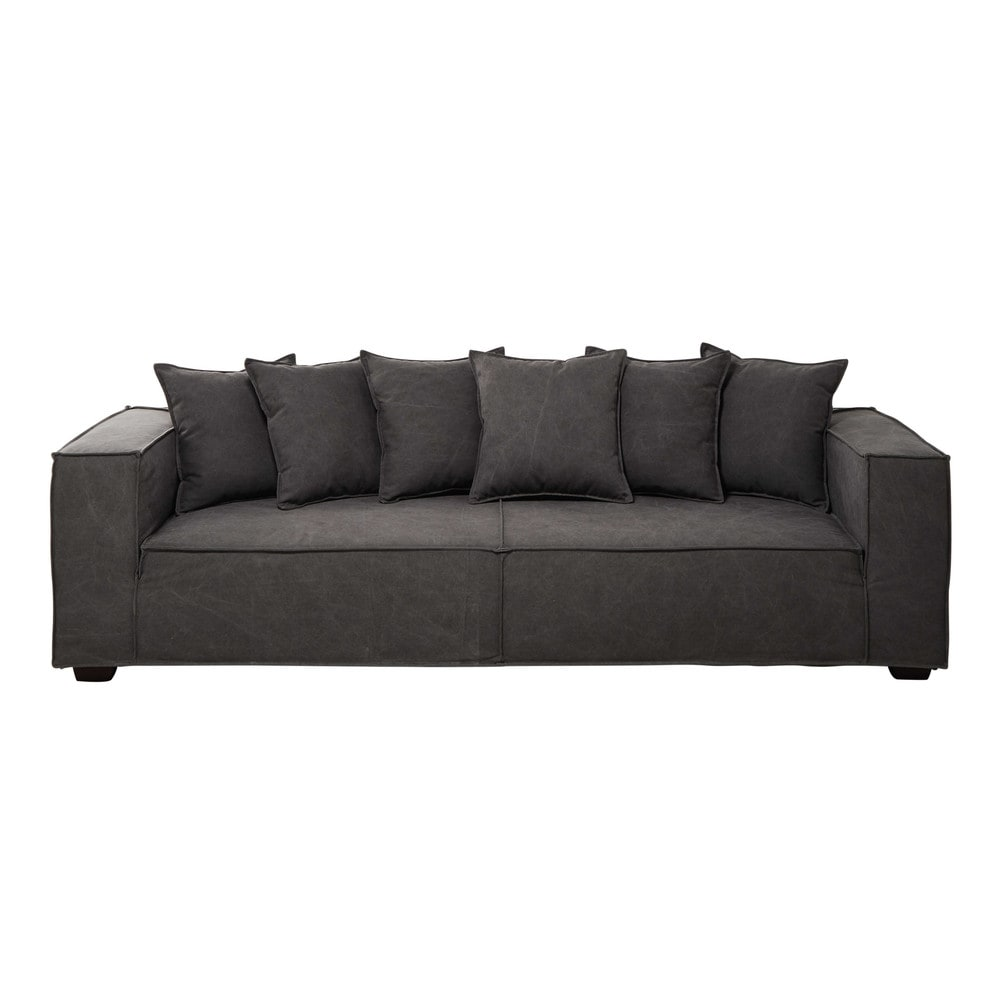 sofa 4 sitzig aus baumwolle grau portman maisons du monde. Black Bedroom Furniture Sets. Home Design Ideas