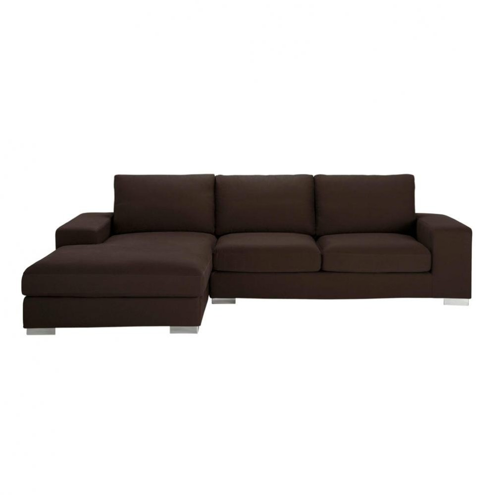 sofa 5 seat sectional corner sofa in chocolate new york new york maisons du monde. Black Bedroom Furniture Sets. Home Design Ideas