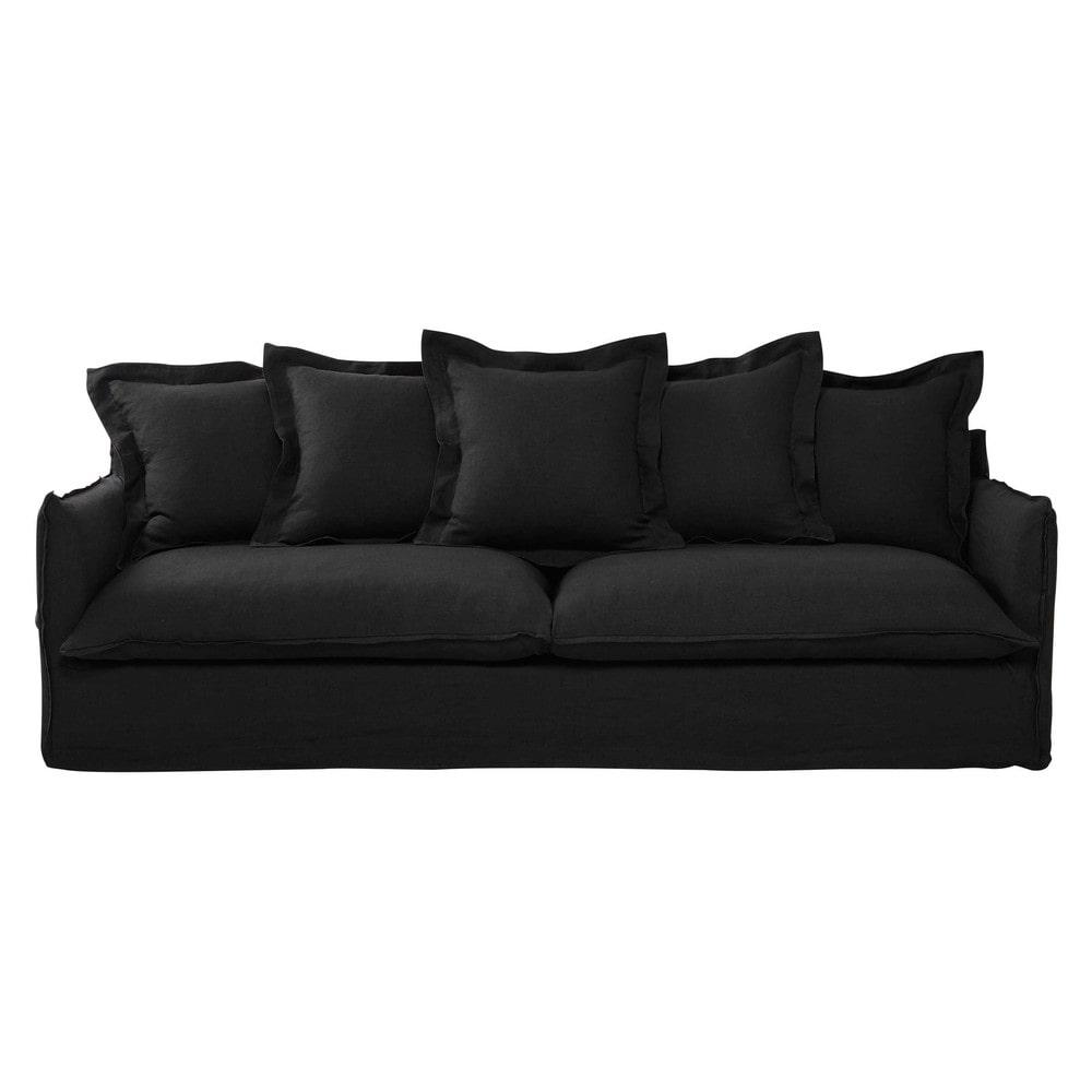 sofa 5 sitzig aus leinen anthrazit barcelone maisons du monde. Black Bedroom Furniture Sets. Home Design Ideas