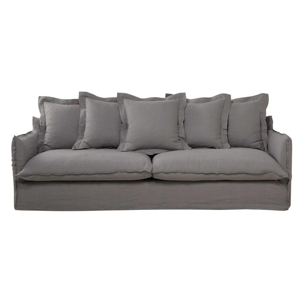 sofa 5 sitzig aus leinen hellgrau barcelone maisons du monde. Black Bedroom Furniture Sets. Home Design Ideas