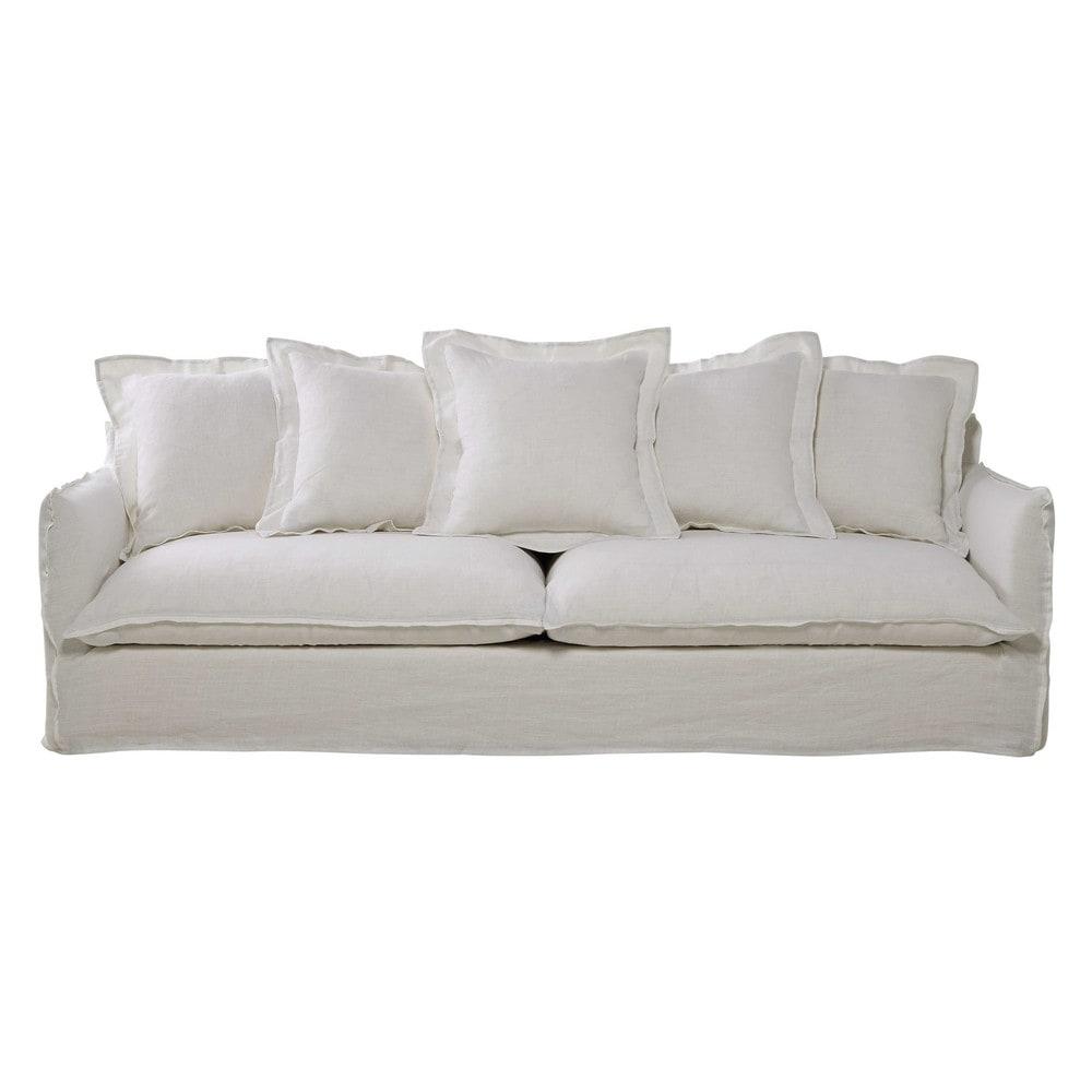 sofa 5 sitzig aus leinen wei barcelone maisons du monde. Black Bedroom Furniture Sets. Home Design Ideas