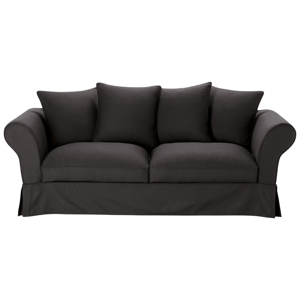Sofa bed in black cotton seats 3 4 roma roma maisons du monde - Sofa roma ...
