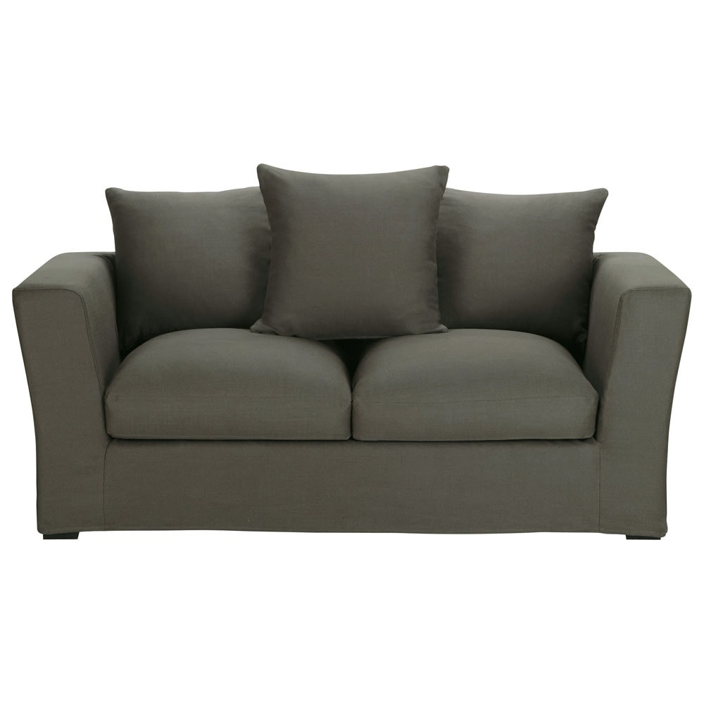 Sofa Bed In Taupe Grey Linen Seats 2 3 Bruxelles