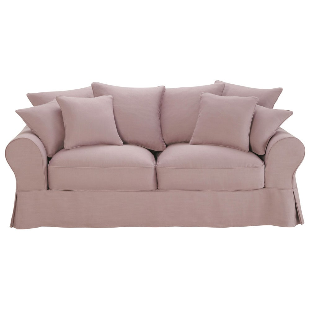 Sofa Bed In Vintage Mauve Linen Seats 3 Bastide Bastide