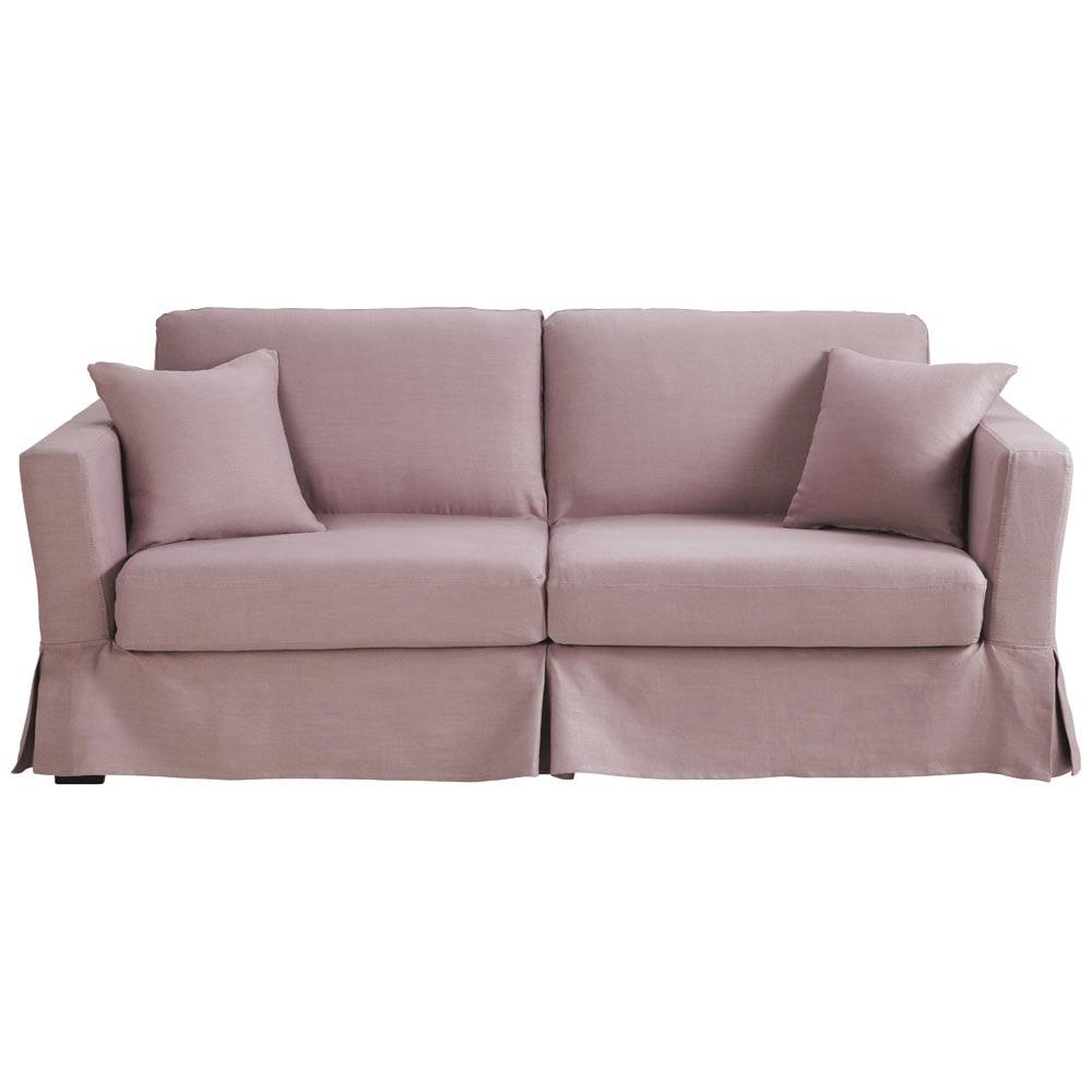 Sofa Bed In Vintage Mauve Linen Seats 3 Royan Royan
