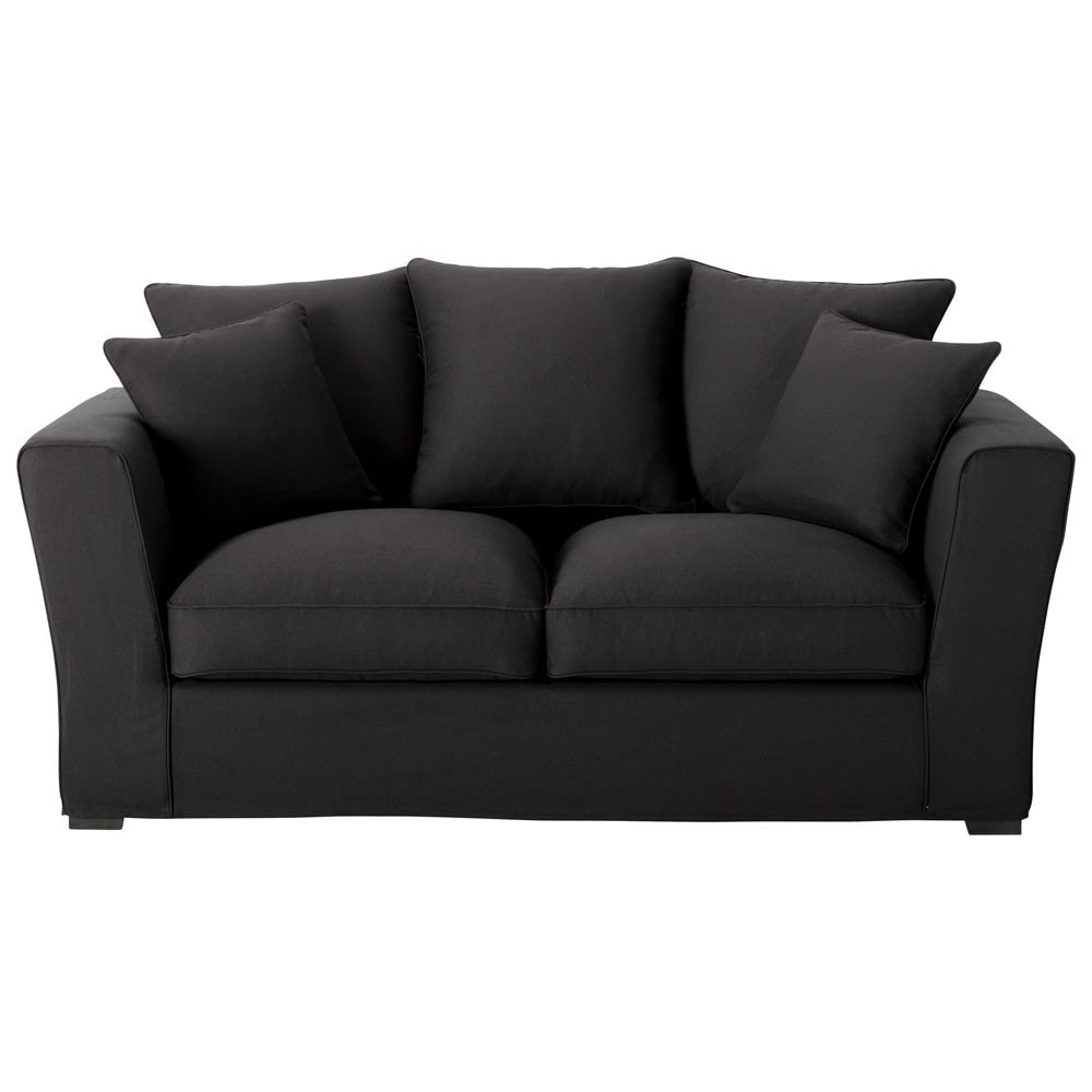 Sof cama 2 3 plazas algod n negro balthazar balthazar for Sofa cama 2 plazas pequeno
