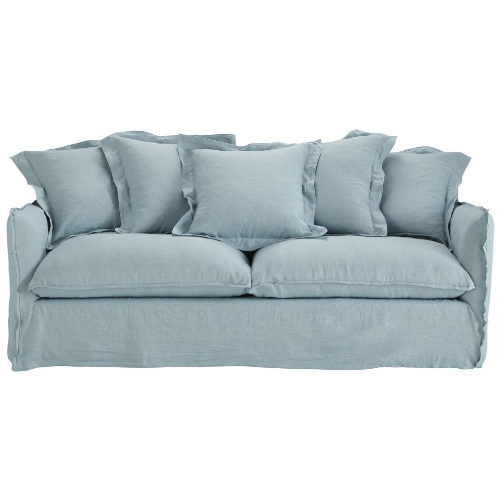 Sof cama 3 4 plazas lino lavado azul agrisado barcelone for Sofa cama 4 plazas