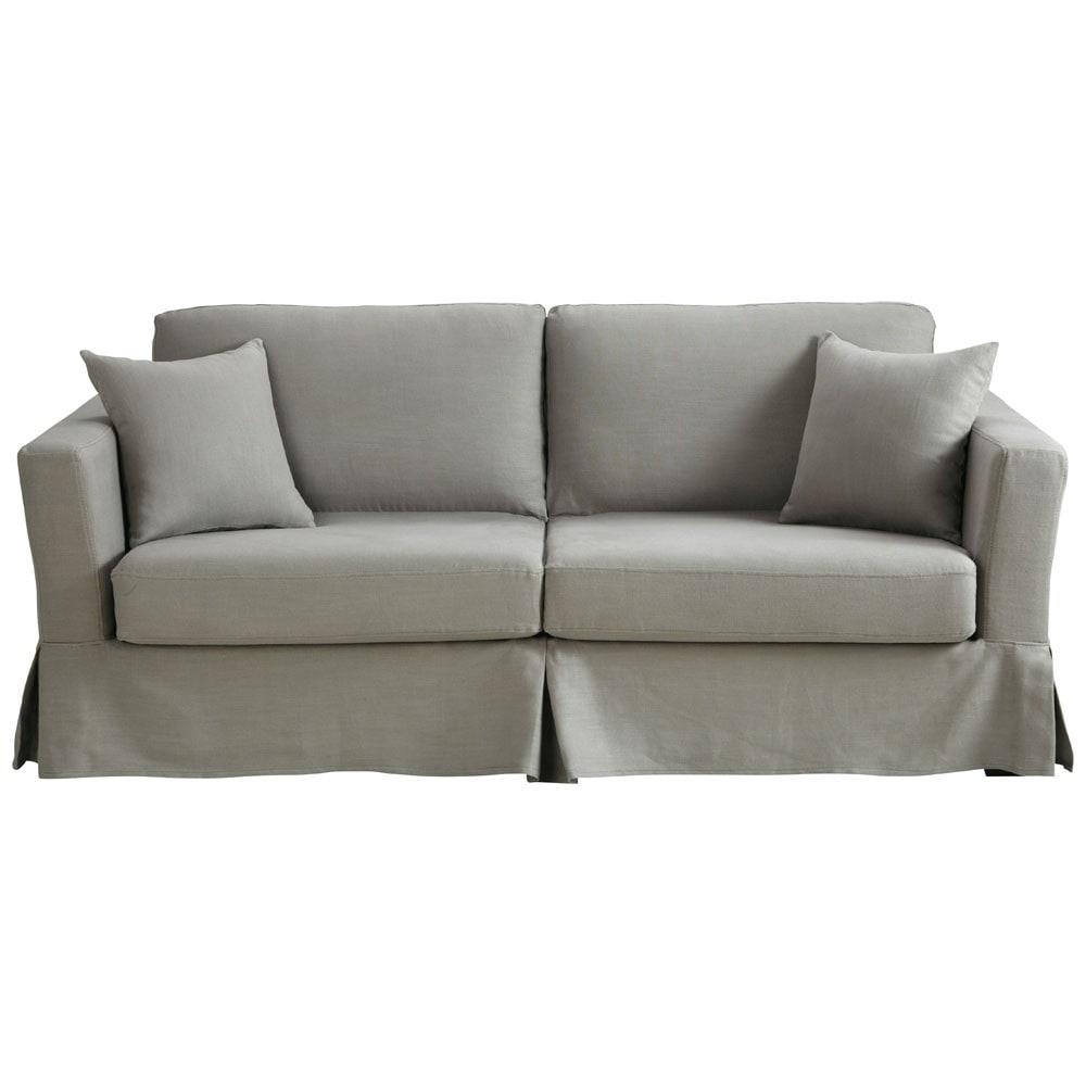 Sof cama 3 plazas lino gris claro royan royan maisons for Sofa cama gris claro