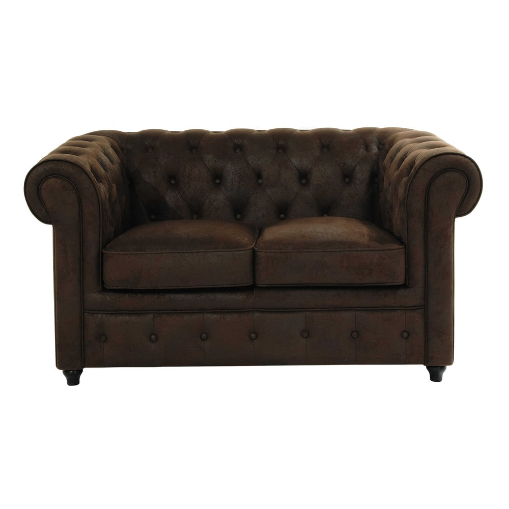 Sof capiton de 2 plazas de polipiel marr n chesterfield for Sofa 2 plazas polipiel