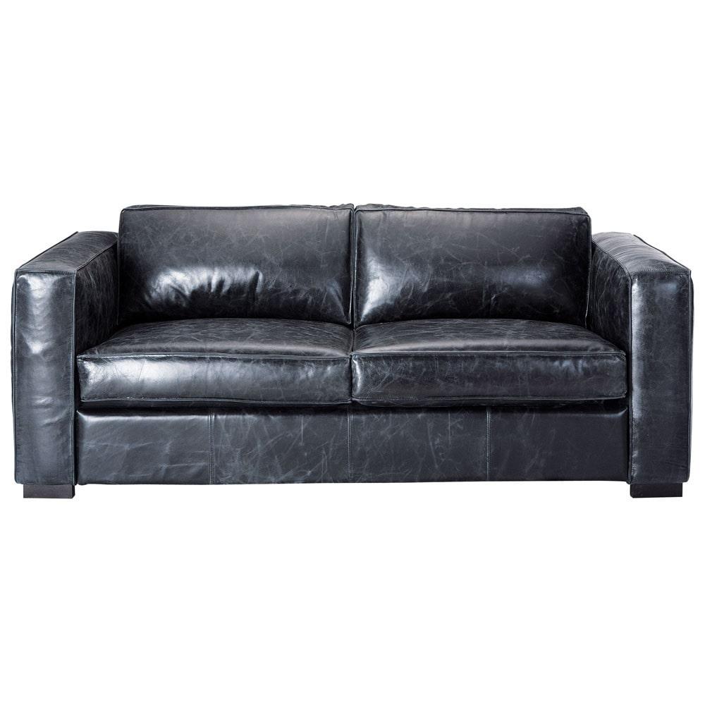 Sof convertible de 3 plazas de cuero negro berlin - Sofa cuero negro ...
