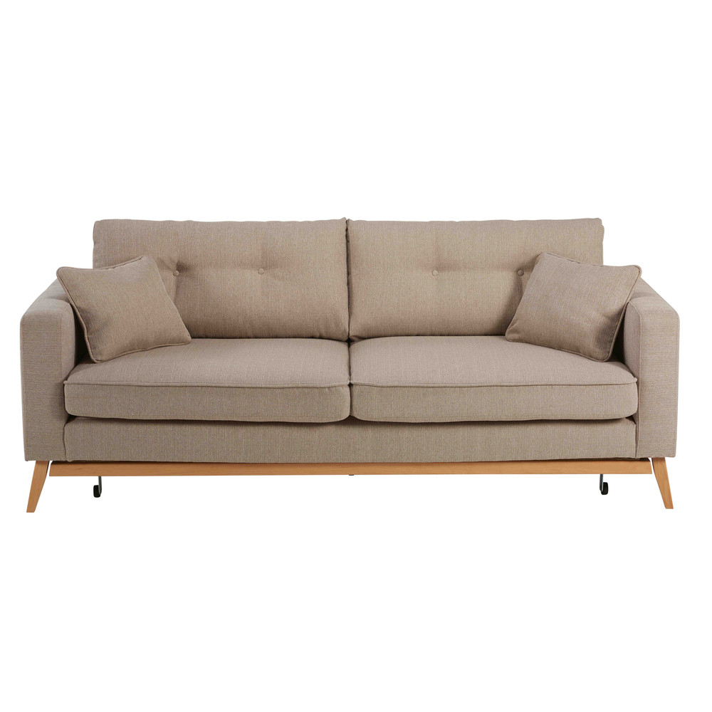 Sof convertible de 3 plazas de tela beis mezclilla brooke for Sofa sectionnel pas cher montreal