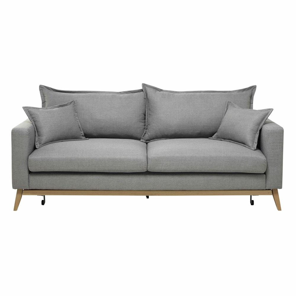 Sof convertible de 3 plazas de tela gris claro duke for Sofa gris claro color pared