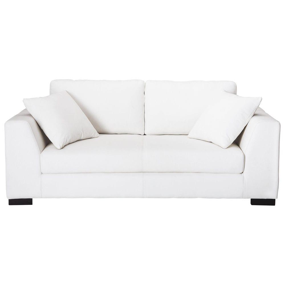 Sof de 2 3 plazas de cuero blanco terence maisons du monde - Sofa cuero blanco ...