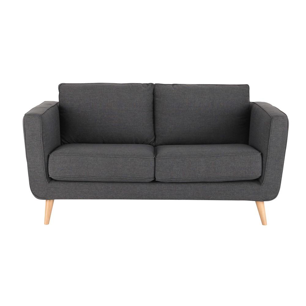 Sof de 2 3 plazas de tela antracita nils maisons du monde - Tela para sofa ...