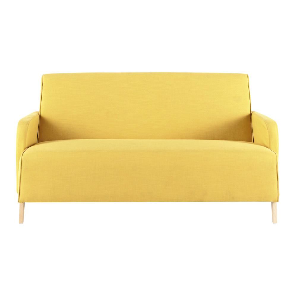 Sof de 2 plazas de tela amarillo adam maisons du monde - Sofa 2 plazas pequeno ...