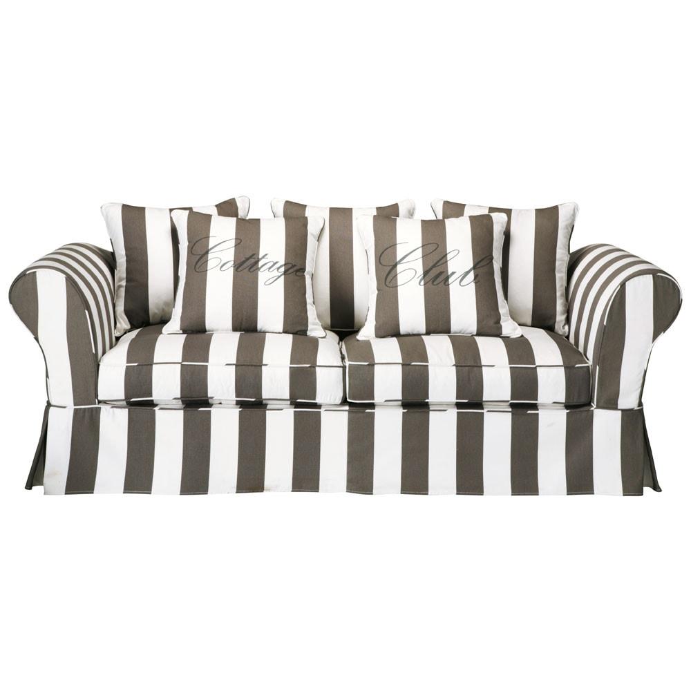 Sof de 3 4 plazas de algod n gris y blanco cottage club for Sofa gris y blanco