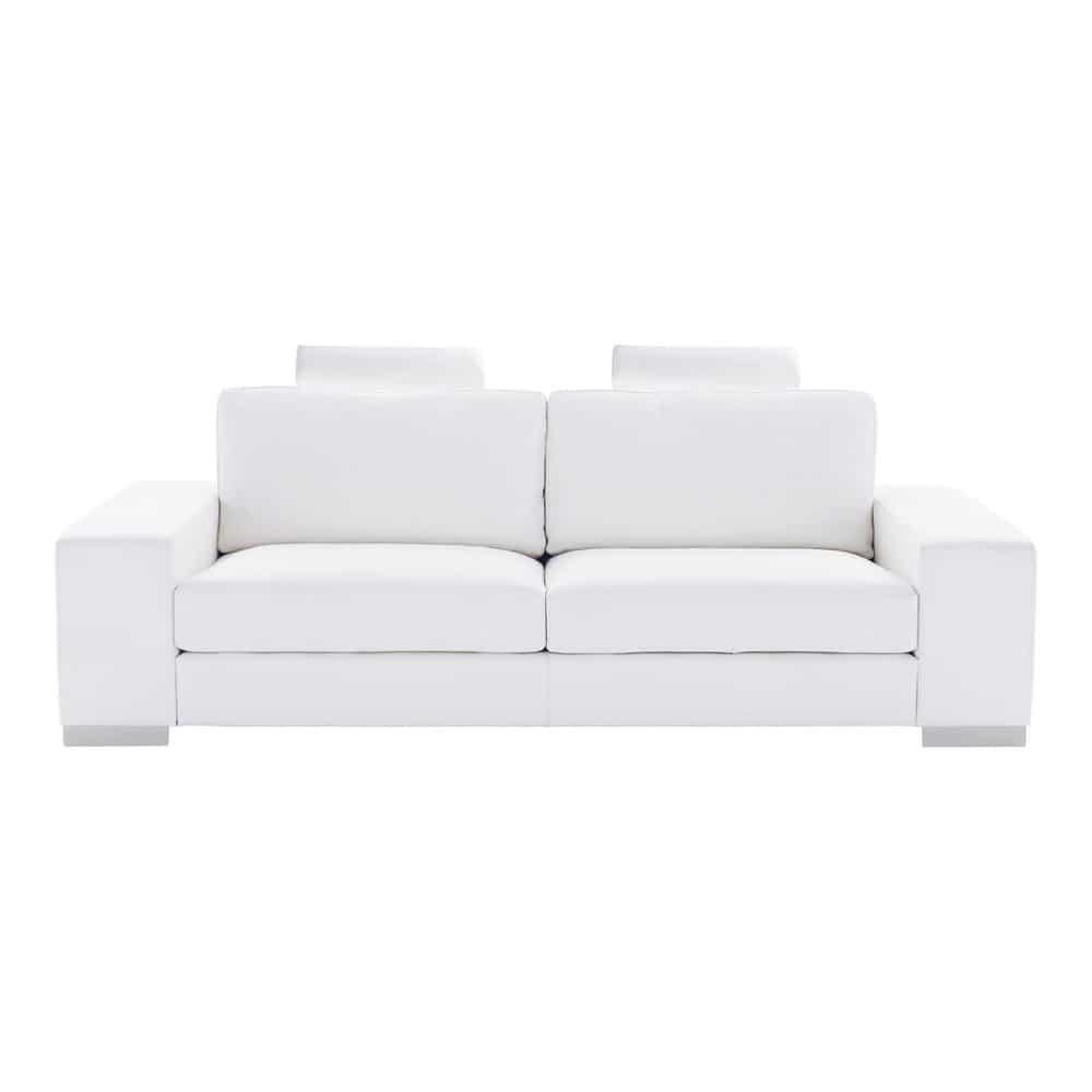 Sof de 3 plazas de cuero blanco daytona maisons du monde - Sofa cuero blanco ...